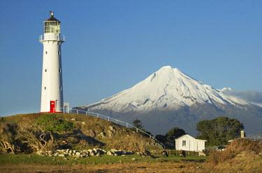 AU02_DWA5014 Cape Egmont Lighthouse and Mt Taranaki / Mt Egmont, Taranaki, North Island, New Zealand