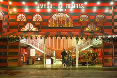 CA27_JME0113 Puerto Rico, Ponce, Parque de Bombas, a Moorish-style Fire Station (built in 1882), now a museum, in Plaza Las Delicias (Plaza of Delights).