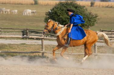 EU13_CMI0047 Hungary, Kalocsa, Puszta region. Traditional Hungarian ranch & cowboy show at Bakodpuszta Equesdtrian Center. Cowboy in traditonal attire.