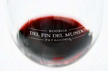 SA01_PKA0151 Glass of red wine with engraved the name of the vineyard against a white background Bodega Del Fin Del Mundo,  Neuquen, Patagonia, Argentina