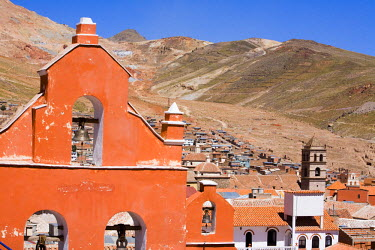 SA03_PLA0786 Bolivia, Potosi. Bell tower of the Church of La Merced