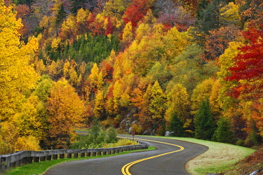 US34_AJE0079 Blue Ridge Parkway winding through southern Appalachian Mountains in autumn, near Grandfather Mountain, North Carolina, USA