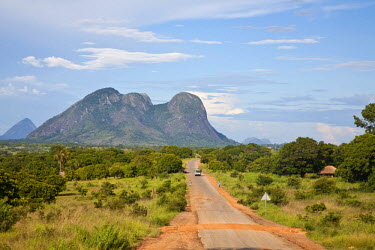 MOZ1473 Mozambique, near Nampula. The long, pot-holed road towards Nampula.