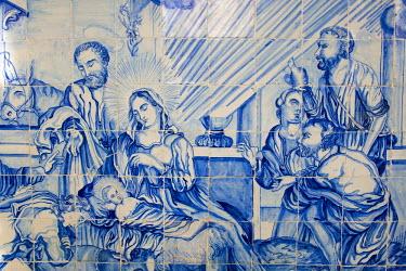 SA04_SOU0102 Brazil. Salvador, Bahia. Portugese tiles in the cloister of the Igreja de Bonfin Church