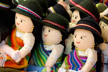 SA07_CMI0153 Ecuador. Famous Otavalo Market which dates back to pre-Inca times. Typical Ecuadorian hand made dolls in traditional attire.