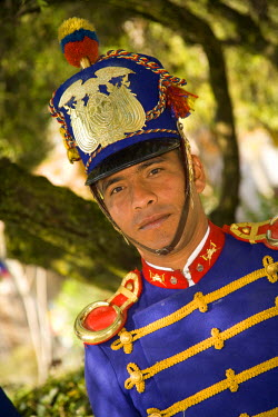 SA07_JME0382 Military band member, Cuenca, Ecuador.  Cuenca is a UNESCO World Heritage Site.
