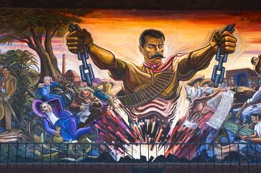 SA13_PLA0083 Mexico, Anenecuilco. El Caudillo del Sur (The Southern Caudillo), mural by Roberto Rodriguez Navarro, Casa-Museo Emiliano Zapata Museum