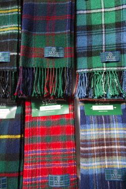 TPX17144 Scotland, Edinburgh, Scarf Display in the Tartan Weaving Mill