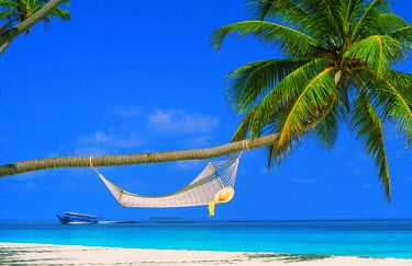 NP01114509 Hat resting on hammock over sandy shores in Maldive Islands with passing tourboat
