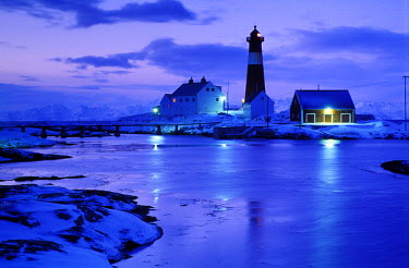 NP00342256 Tran Island Lighthouse in winter in Northern Norway
