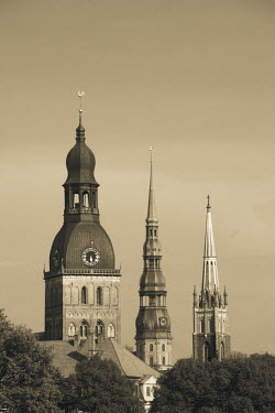 LV01151 Latvia, Riga, Old Riga, view of three Riga churches