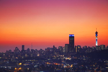 SAF6100AW View of Johannesburg skyline at sunset, Gauteng, South Africa