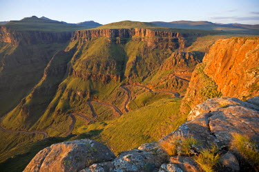 LES1164 Lesotho, Sani Pass. The border with South Africa in the Drakensberg Mountain range. The infamous Sani Pass winds its way down into South Africa.