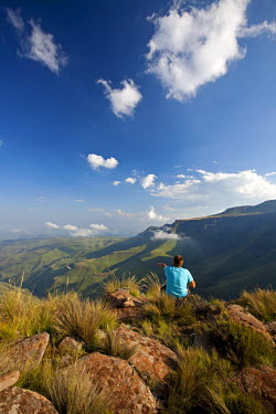 LES1165 Lesotho, Sani Pass. The border with South Africa in the Drakensberg Mountain range. Stunning views from the top of the Pass. MR