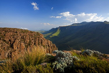 LES1166 Lesotho, Sani Pass. The border with South Africa in the Drakensberg Mountain range. Stunning views from the top of the Pass.