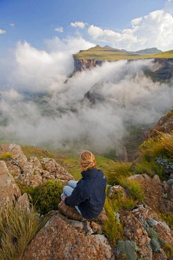 LES1171 Lesotho, Sani Pass. The border with South Africa in the Drakensberg Mountain range. Stunning views from the top of the Pass. MR