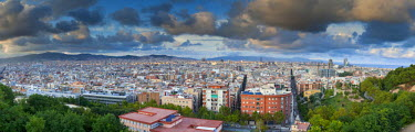 ES02323 View over Barcelona city centre from Montjuic, Barcelona, Spain