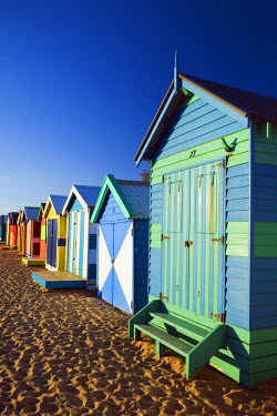 AUS1263 Australia, Victoria, Melbourne.  Colourful beach huts at Brighton Beach.