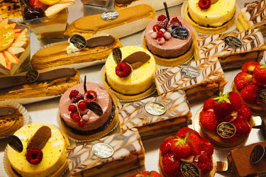TPX19203 France, Paris, Pastries Display in Patisserie Shop Window
