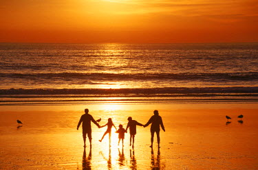 AR4004301401 A family walks hand-in-hand at sunset on Pacific beach, Florida, USA