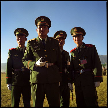 Chinese military officials at the Yushu horse racing festival in the ethnically Tibetan Qinghai Province in central China.