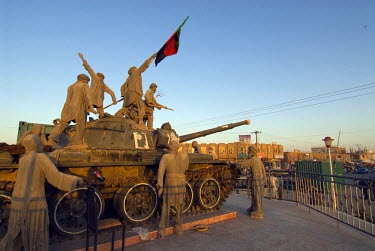 AR9677600035 A shrine, made from a real tank, and dedicated to the thousands killed during the Soviet invasion of Herat and to the ultimate victory of the Afghans, stands in the city of Herat, Afghanistan