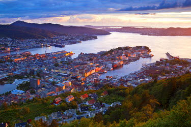 NW03256 Elevated view over central Bergen illuminated at sunset, Bergen, Hordaland, Norway