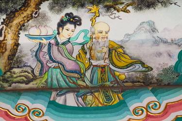 TPX20210 China, Beijing, Summer Palace, Buddhist Fragrance Pavilion, Painted Artwork depicting Historical Chinese Mythological Scene