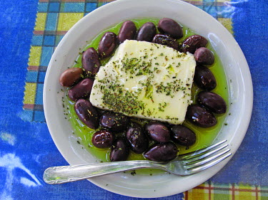 GR12273 Greek Feta Cheese and Olives in Oil, sprinkled with a lttle Oregano. Paleochora, South Crete, Greece