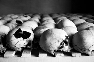 AR3243700008 Skulls are lined up at the Murambi Genocide Memorial outside of Gikongoro in southern Rwanda