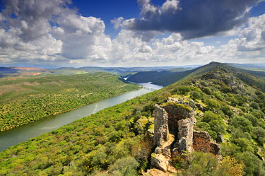 SPA3545AW Monfrague National Park's panorama with a ruined castle over the Tagus river. Spain