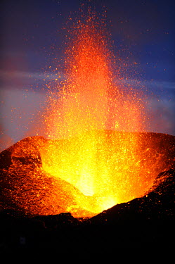 AR3889800026 Fimmvorouhals eruption.  Lava flows at 1000 degrees C. and 350 feet high, Iceland