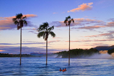 VN01261 Venezuela, Guayana, Canaima National Park, Canaima Lagoon, Hacha falls