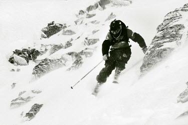 AR3108200007 Andorra la Vella, Andorra, Andorra: One skier during El Dorado Freeride competition, Andorra.