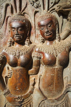 TPX21968 Cambodia, Siem Reap, Angkor Wat Temple, Carving Reliefs depicting Apsara Dancers