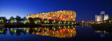 CH9507 Exterior of the Olympic Stadium, Datun, Beijing, China by night