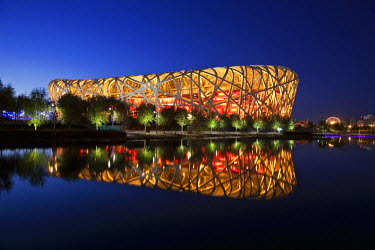 CH9508 Exterior of the Olympic Stadium, Datun, Beijing, China by night