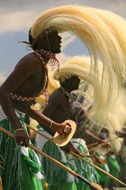 RW1155AW Virunga, Rwanda. Traditional Intore dancers perform at the annual gorilla naming ceremony, Kwita Izina.
