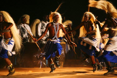 RW1165AW Kigali, Rwanda. The Intore dancers perform at FESPAD Pan African dance festival.