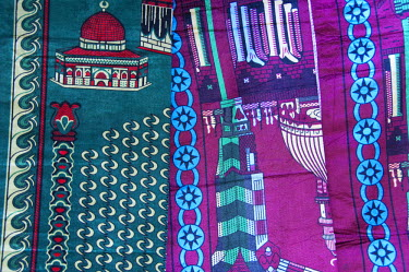 AF18_CMI0000 Africa, Gambia. Capital city of Banjul. West African textiles with Islamic motif.