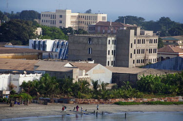 AF18_CMI0028 Africa, Gambia. Capital city of Banjul. Coastal beach overview with city of Banjul in distance.