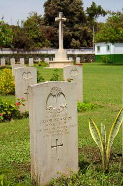 AF18_CMI0074 Africa, Gambia. Capital city of Banjul. Fajara War Memorial. WWII African Pioneer Corps. markers.