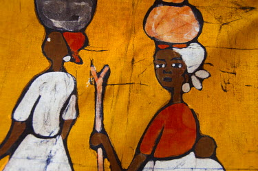 AF18_CMI0082 Africa, Gambia. Capital city of Banjul. Local batik workshop, colourful hand painted textiles depicting every day African life.
