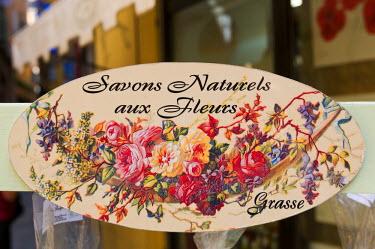 EU09_SPI0303 Detail of soap stand, Grasse, Provence, France.