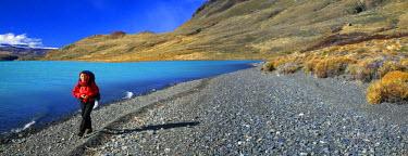 AR3953000019 Perito Moreno National Park, Patagonia, Chile. Hiker by Lago Belgrano in Perito Moreno National Park, Argentina