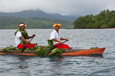 OC01_MDE0049 Fiji, Kioa Island. Traditional canoe welcome by the people of kioa Island.