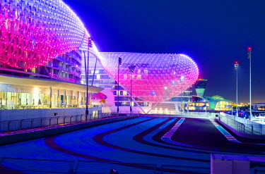 United Arab Emirates, Abu Dhabi, Yas Island, The Yas Hotel and Yas Marina Grand Prix Motor Racing Circuit