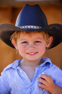 US32_JMR0773 Galisteo, New Mexico, USA. 39th annual small town Galisteo authentic old western rodeo. Little cowboy.