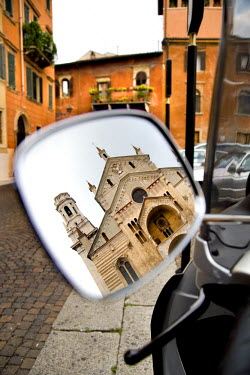 IT9216AW Cathedral reflected in a scooter mirror, Verona, Veneto, Italy