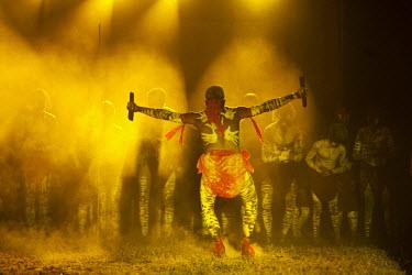 AUS1603 Australia, Queensland, Laura.  Indigenous dancers performing at the Laura Aboriginal Dance Festival.